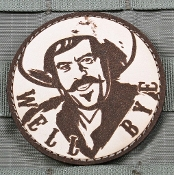 "Curly Bill ""Well Bye"" leather patch w/ velcro backing"