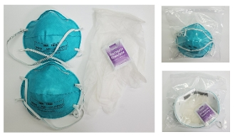 N95-CBK (Contagion Barrier Kit) Gloves, mask & antiseptic wipe